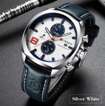 新作正規CURREN腕時計◆シルバーMIX BIGフェイス◆海外限定