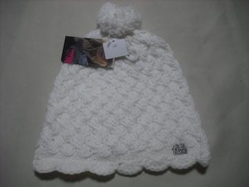 wb128 女 BILLABONG ビラボン ボンボン付き ニット帽 白