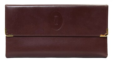 新品同様正規カルティエ長財布ガマ口三つ折りボルドーがま