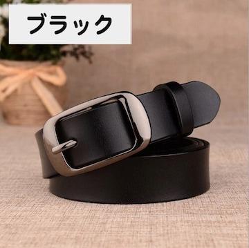 ★ ブラック 黒 本革ベルト レザー シンプル カジュアル