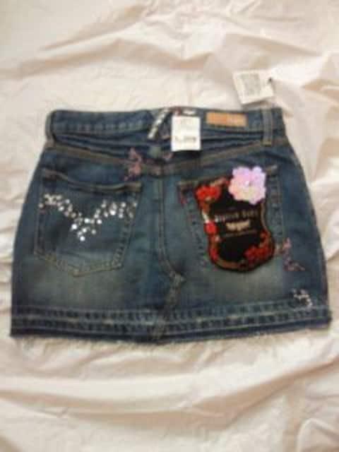 LEVI'S リーバイス LADY STYLE デニム ジーンズ ミニスカート ストーン 刺繍 27 青 < ブランドの