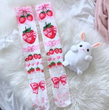 新品[7765]ピンク●苺(イチゴ)とウサギ柄ニーハイソックス/ロリータ
