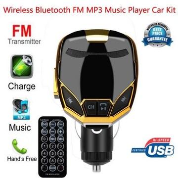 Bluetooth FMトランスミッター アイアンマン 風  充電可能 金
