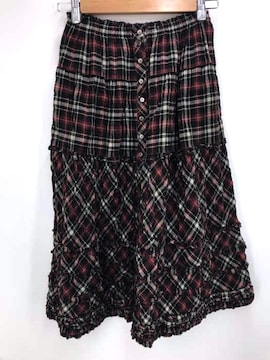 PINKHOUSE(ピンクハウス)ボタンチェックフリルスカートフレアスカート