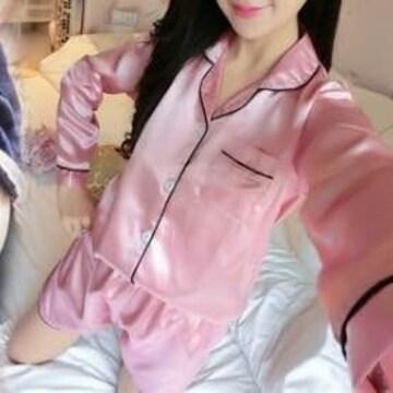 ピンクパジャマ ルームウェア サテン ルームウェア