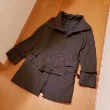 特価!2way襟カラーウールロングコートジャケットコートOL通勤通学Mチャコールグレ-