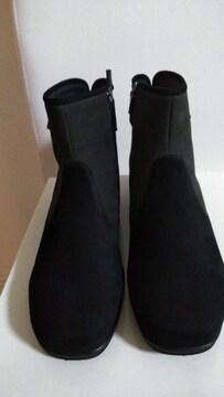 送料込み!ミスキョウコ24.5cm黒×グレー本革スエードブーツ新品