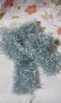 手編みロングファーのマフラーグレー