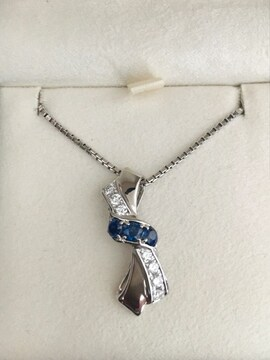 ポーラ ダイヤモンド×サファイアネックレス Pt900 0.39ct 14.0g