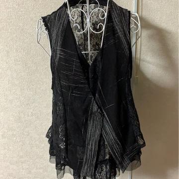 黒レースデザインベスト★フリーサイズ☆