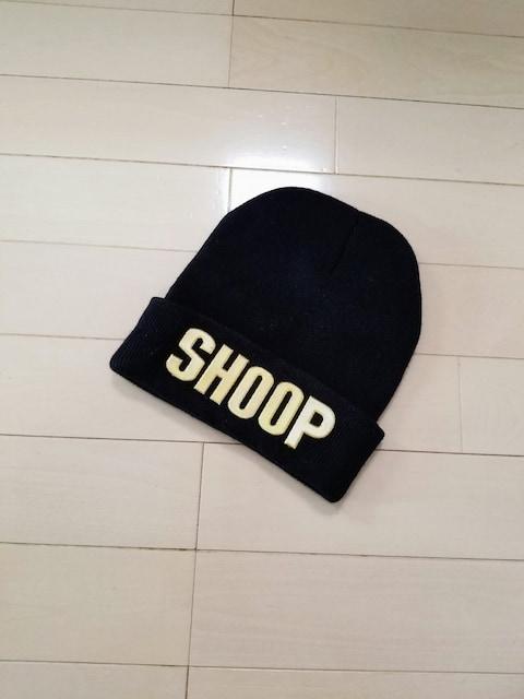 新品◆baby shoop◆goldメタルロゴプレートニット帽 黒 シュープ  < ブランドの