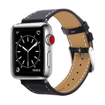 apple watch バンド,本革 ブラック