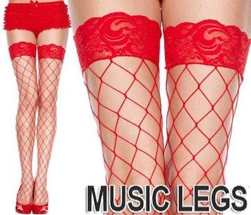 66a)MUSICLEGSレーストップサイハイストッキング赤レッド網タイツダンス衣装セレブパーティー
