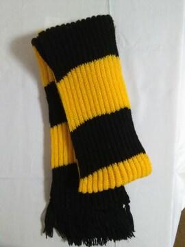 毛糸のマフラー 黒×黄色