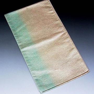 【袋帯】西陣織 ベージュ地に絞り 鮮やかなぼかし柄 未使用