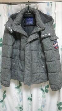 パープル&イエロー ツィード 中綿 フード ジャケット 新品 S
