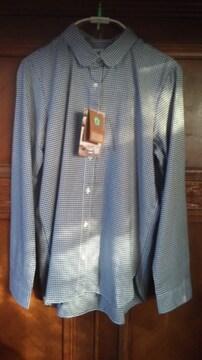 長袖ギンガムチェックシャツ(紺色)