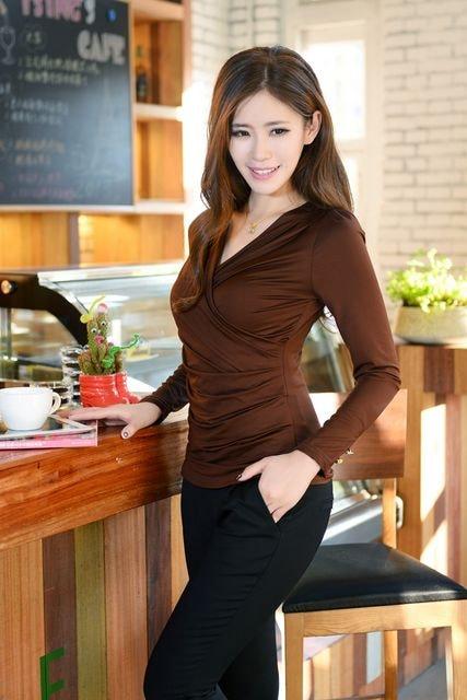カジュアル★大人系のカシュクールブラウス (XL寸.黒) < 女性ファッションの
