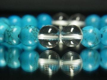効果抜群!!ターコイズ×クリスタル8ミリMIX数珠ブレスレット