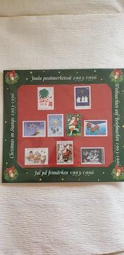 フィンランドの切手10枚 クリスマスフレームの台紙 1993〜1996年 やや汚れあり