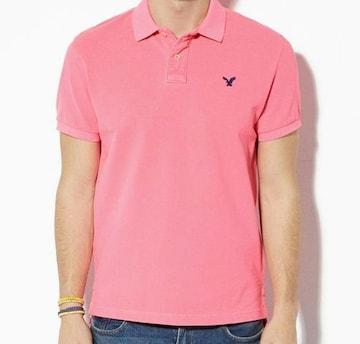 【American Eagle】AEOビンテージフィットピケポロシャツ L/Pink