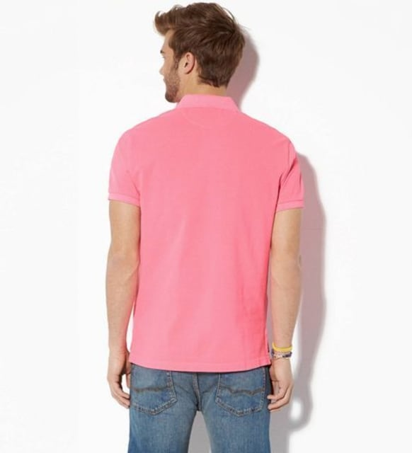 【American Eagle】AEOビンテージフィットピケポロシャツ L/Pink < ブランドの