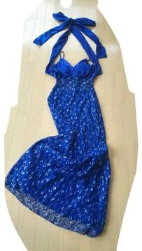 ブルー青ロングドレス綺麗サテンリボン総レース透けセクシー