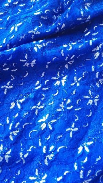 ブルー青ロングドレス綺麗サテンリボン総レース透けセクシー < 女性ファッションの