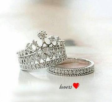送料無11号2個重ね付けスーパーCZダイヤクラウン王冠リング指輪