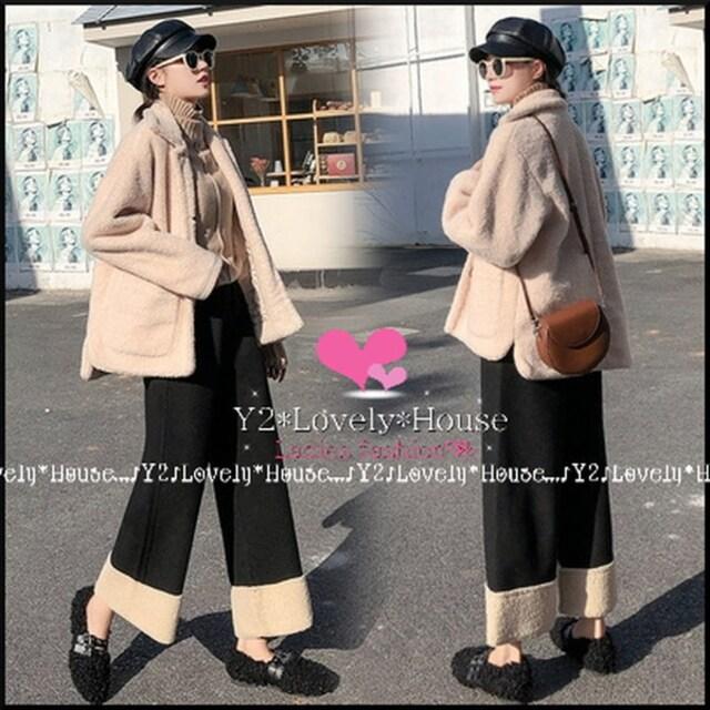【〜W85】〜3L*裾ボア切替九分丈パンツ*黒 < 女性ファッションの