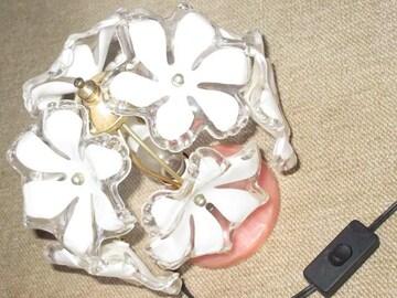 フラワーモチーフ*ガラス製ランプ*キシマ*ベッドサイドランプ