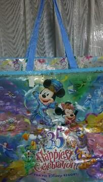 レア 新品 タグ ディズニー 特大 ショッピング バッグ 35周年 限定 ファスナー付
