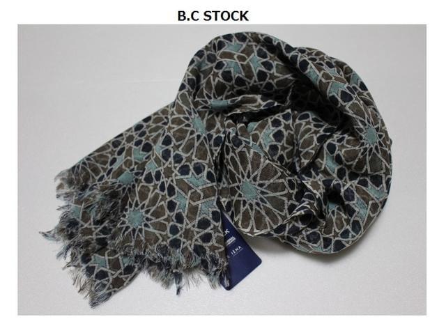 B.C STOCK*simplicite★ウールガーゼ*フラワー柄ストール/新品ブルー系  < ブランドの