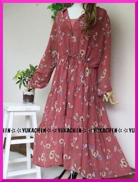 新作◆大きいサイズ3Lダークピンク×花柄◆インナーキャミ付きロングチュニック
