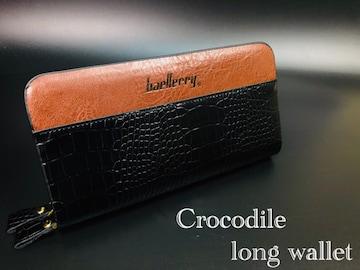 長財布 財布 レザー クロコダイル 札入れ 小銭入れ ブラック
