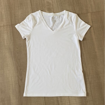 GUレディース半袖TシャツSホワイトVネック