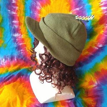 男女兼用†つば付きニット帽子■カーキ■B系カジュアルに♪