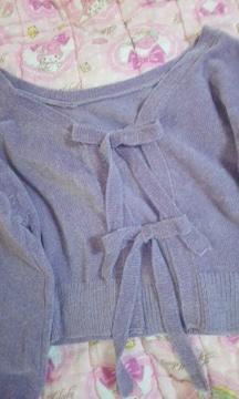 レトロガール背中見せリボン結び長袖ニット未使用美品