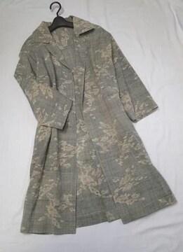 ◇古布着物リメイク 小袖/シルク100% 小千谷紬 初夏サマーコート