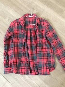 GU暖かチェックシャツM赤ネルシャツ