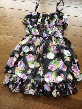 カラフルな花柄×黒 キャミワンピ フリーサイズ N2m