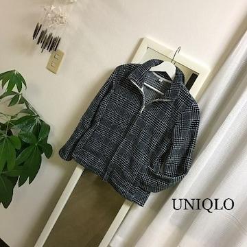 UNIQLO チェック柄フリース パーカー