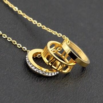18Kゴールド鍍金CZダイヤローマ数字3連リングネックレス