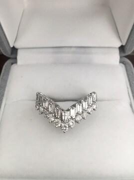 ダイヤモンド V字 リング Pt900 1.02ct 6.6g