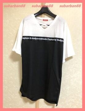 ☆超美品☆クロスネックテープロゴ配色TシャツワンピM☆