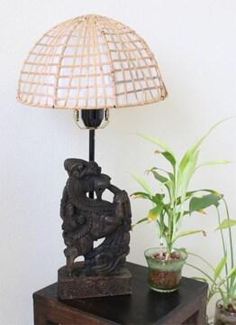 木彫りライオン獅子ランプ★間接照明 インテリア雑貨 手彫り アジアン エスニック