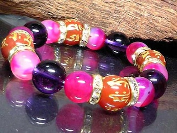 十二支梵字アゲート§アメジスト§ピンクアゲート数珠