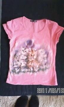 絵画風子猫プリントTシャツ