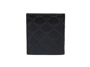 正規未使用グッチ財布グッチシマ二つ折りGG型押し黒革GUCCI
