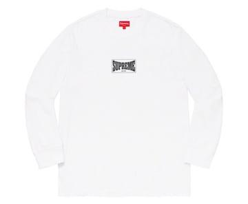 即決 Supreme woven label L/S TOP white Mサイズ